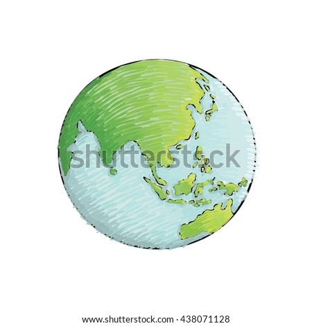 Earth handdrawn on white background world vectores en stock earth hand drawn on white background world map or globe in doodles style gumiabroncs Gallery