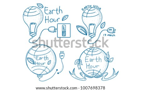 Earth Hour 60 Minute Template Set Stock Vector 1007698378 - Shutterstock