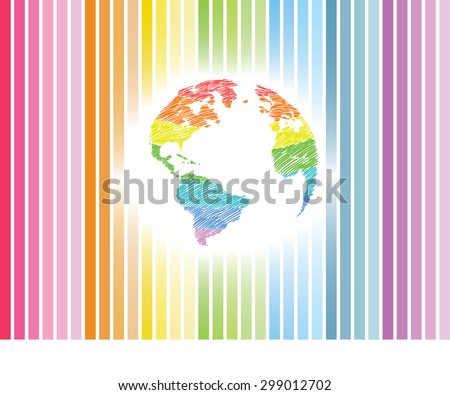 Earth icon hand-drawn on colors of the rainbow background. Earth icon in doodles style - stock vector