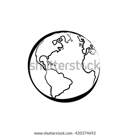 Earth icon hand drawn on white stock vector 420374692 shutterstock earth icon hand drawn on white background world map or globe in doodles style gumiabroncs Gallery
