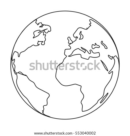 Earth icon in outline style isolated on white background. Bio and ecology symbol stock vector illustration.