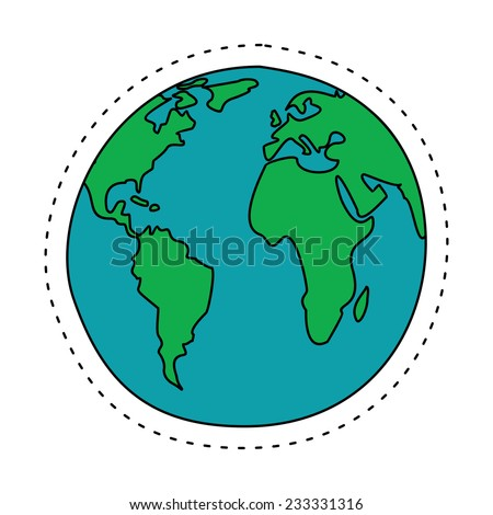Earth in Cartoon Style. North America, South America, Europe and Africa. Vector Illustration - stock vector
