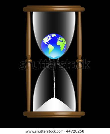 Earth in hourglass - save the earth vector. Background color may be changed easily. EPS10 format. - stock vector
