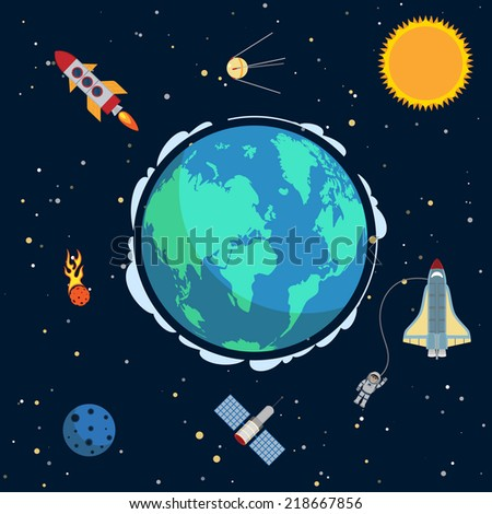 Earth in space poster with globe and spacecrafts and  satellites on orbit vector illustration - stock vector