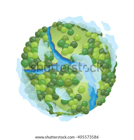 Earth isolated on white background. Earth day. Green Ecology elements. Vector illustration. - stock vector