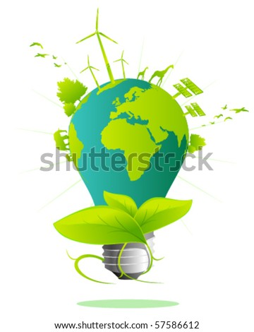 Earth light bulb - stock vector
