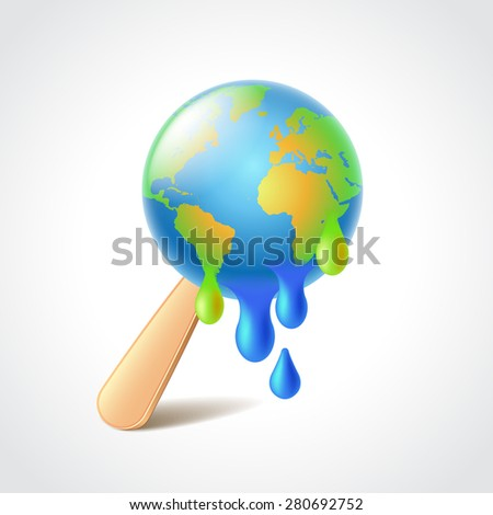 Earth like melting ice cream, global warming concept photo realistic vector illustration - stock vector