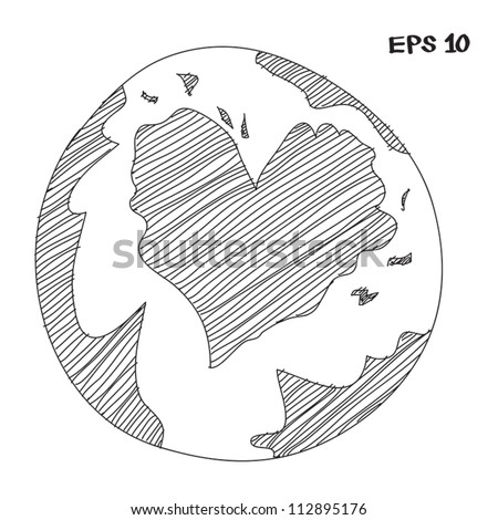 earth making a heart sketch - stock vector