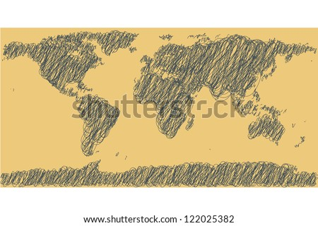 Earth map. Hand-drawn - stock vector