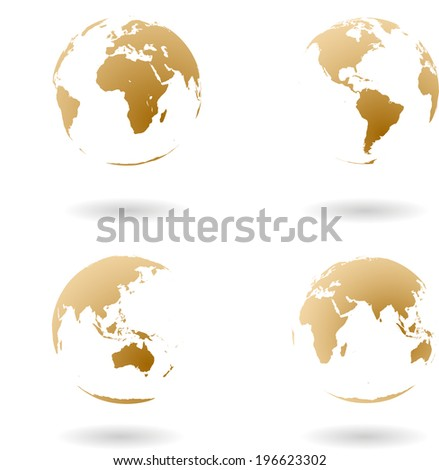 Earth maps. Vector set - stock vector
