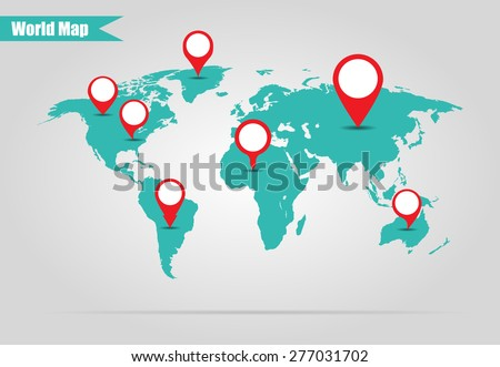 Earth marked on the map vector illustration - stock vector