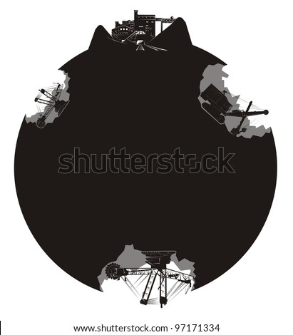 Earth movers excavating coal from a heavily scarred planet earth - black and white illustration - stock vector