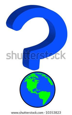earth or globe as part of question mark - global uncertainty - vector - stock vector