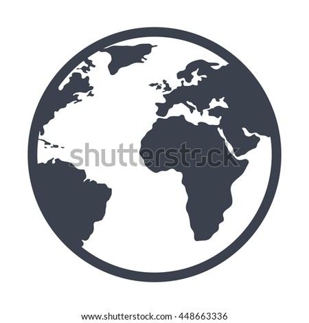 Earth planet black and white isolated icon, vector illustration graphic design. - stock vector