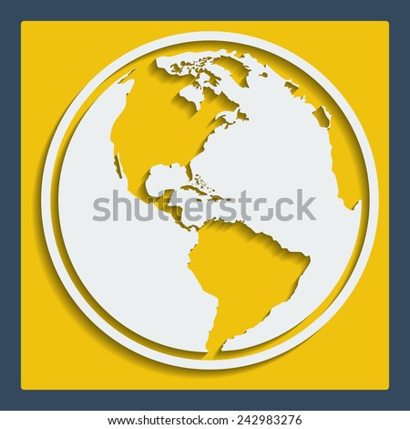 Earth planet globe vector icon in flat design with blend shadow for web and app