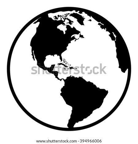 Earth planet globe web and mobile icon in flat design. Contour black symbol of earth planet in america view. Isolated on white background. Vector illustration. - stock vector