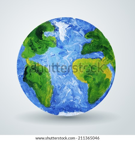 Earth planet painted in oil. Vector illustration. Painted world map. Ecological concept. - stock vector