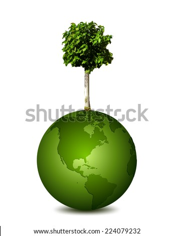Earth planet with a tree. Vector - stock vector