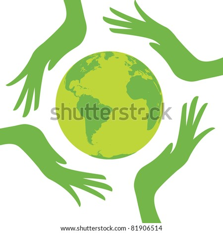 earth protected by hands. Design vector illustration - stock vector