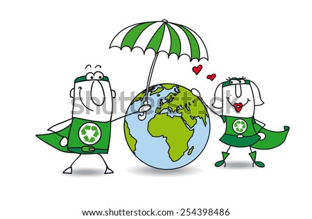 Earth protection. Two superheroes protect the earth! It is very kind - stock vector