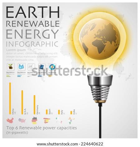 Earth Renewable Energy Ecology And Environment Infographic Design Template - stock vector