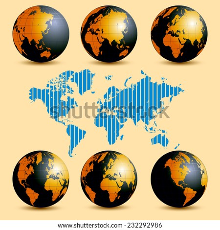 Earth rotation and map with time zones. Vector illustration - stock vector