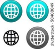 Earth round buttons. Black icon included. - stock vector