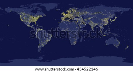 Earth's city lights map with silhouettes of continents - stock vector