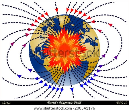 Earth's Magnetic Field - stock vector