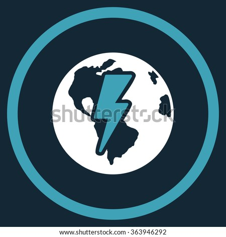 Earth Shock vector icon. Style is bicolor flat circled symbol, blue and white colors, rounded angles, dark blue background. - stock vector