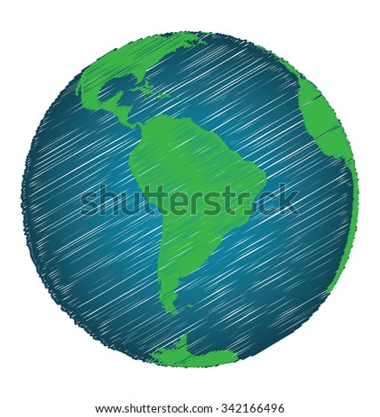 Earth Sketch Hand Draw Focus South America Continent, Credit World Map of Nasa - stock vector