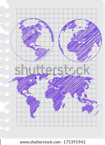 earth sketch hand drawind with pen on the notebook sheet - stock vector