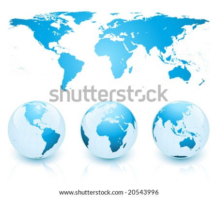 Earth spheres and map