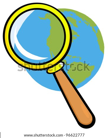 Earth Under Magnifying Glass. Jpeg version also available in gallery. - stock vector