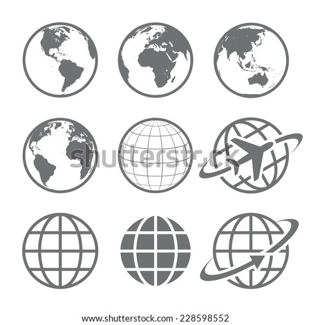 Earth Vector globe Icon set. Set of nine simple Earth globe icons. Vector file is layered. - stock vector