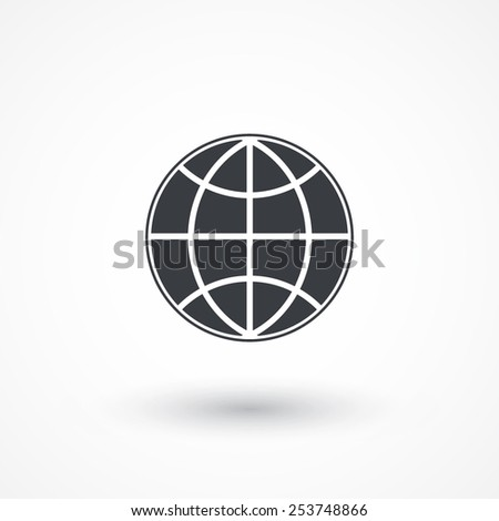 Earth vector icon. Globe icon background. Flat design style  - stock vector