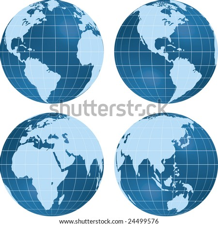 Earth views with globes at different angles. - stock vector
