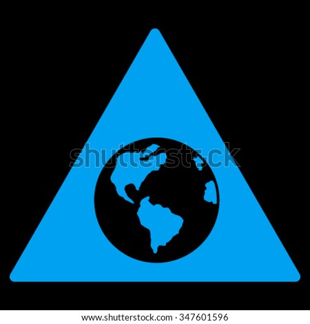 Earth Warning vector icon. Style is flat symbol, blue color, rounded angles, black background.