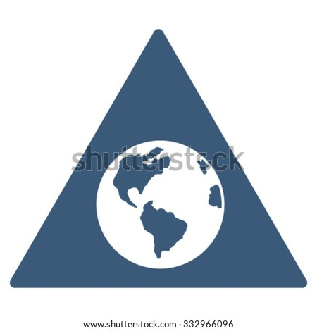 Earth Warning vector icon. Style is flat symbol, blue color, rounded angles, white background.