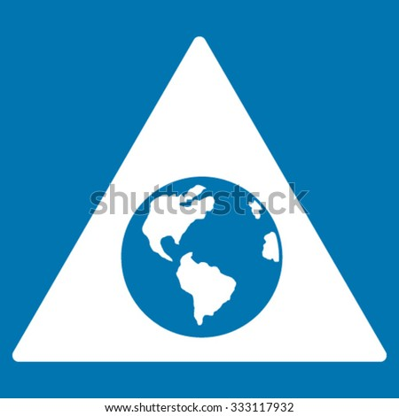 Earth Warning vector icon. Style is flat symbol, white color, rounded angles, blue background.