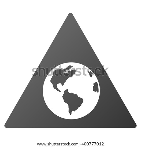Earth Warning vector toolbar icon for software design. Style is a gradient icon symbol on a white background.