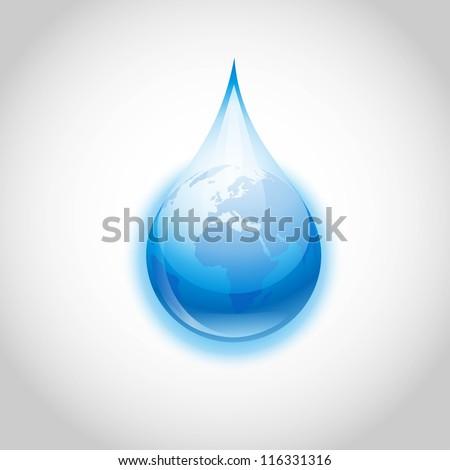 Earth water drop - stock vector
