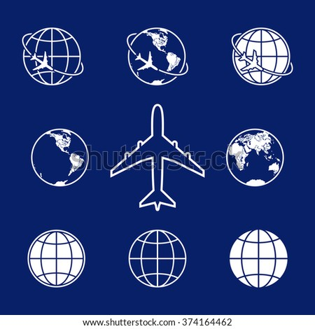 Earth with airplane vector icons set. - stock vector