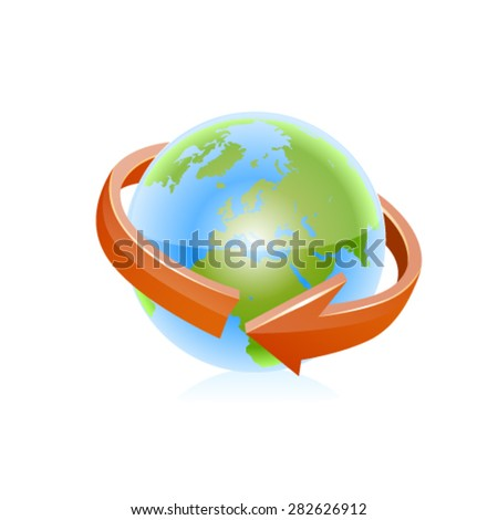 Earth with arrow circle around. - stock vector