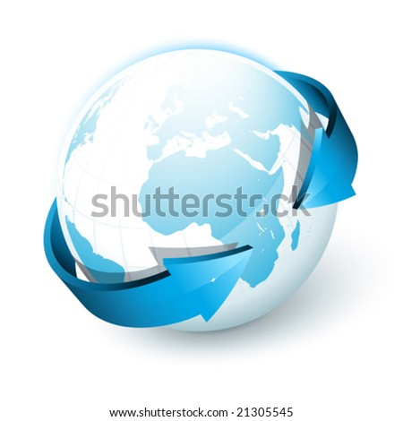 Earth with arrows - stock vector