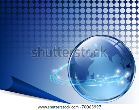 earth with digital fibers over blue grid - stock vector
