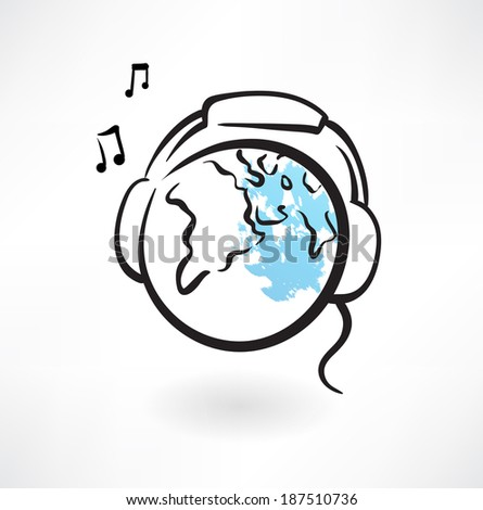 earth with earphones grunge - stock vector