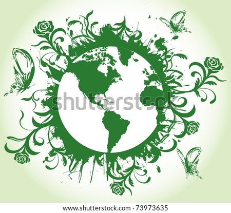 Earth with floral splash design vector - stock vector