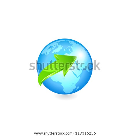 Earth with green arrow. Vector - stock vector
