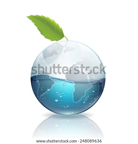 Earth with green leaf and water - stock vector